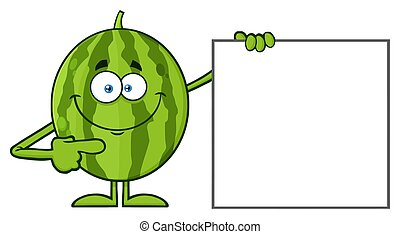 Smiling Green Watermelon Fresh Fruit Cartoon Mascot Character Pointing To A Blank Sign