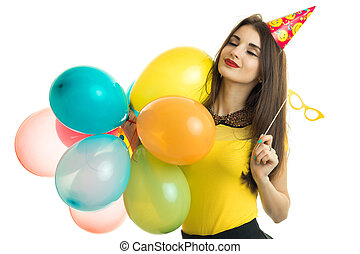Cheerful girl on birthday party
