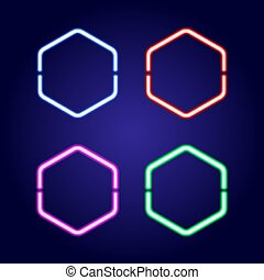 Hexagonal neon glowing frames in different colors of vector...