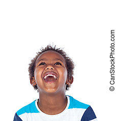 Surprised boy laughing out loud isolated on a white...