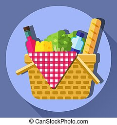 Picnic basket vector illustration. - Picnic basket vector...