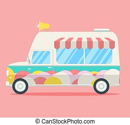 Vector Ice cream van. Side view of a commercial truck...