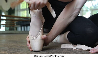 Close up pointe of the ballet dancer