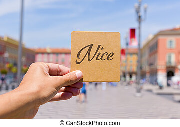 word Nice in Massena square in Nice, France - closeup of a...