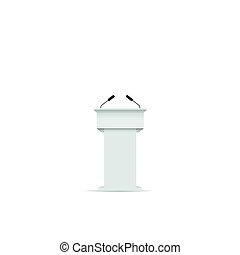 White podium tribune with microphones for conference,...