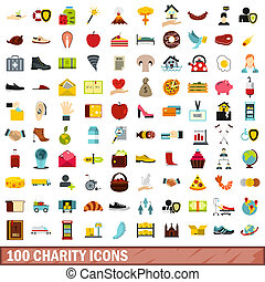 100 charity icons set, flat style - 100 charity icons set in...