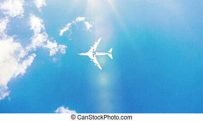 Airplane fly by sunny day blue sky. loop video, Time-lapse -...