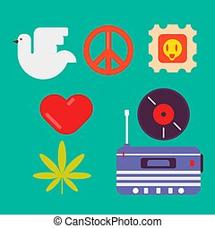 Hippie symbols of peace colorful set isolated vector...
