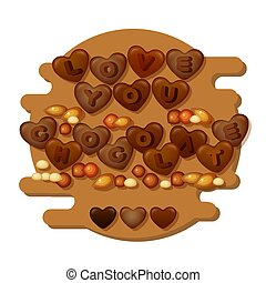 Love You Chocolate card with hearts, letters and nuts . Vector.