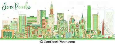 Abstract Sao Paulo Skyline with Color Buildings.