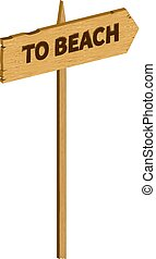 Vector wooden to beach sign