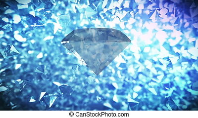 Big Diamond rotates on blinking diamonds backdrop - Big...