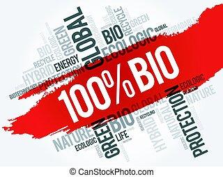 100% BIO word cloud, conceptual ecology background