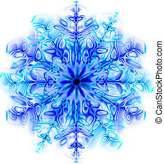 snow flake - nice blue snow flake isolated on the white...