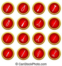 Surgeons tools icon red circle set isolated on white...