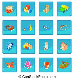 Childrens toys icon blue app for any design  illustration