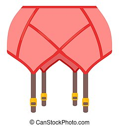 Coral belt stockings icon, cartoon style - Coral belt...