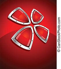 security shield symbol icon vector illustration on red...