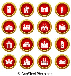 Towers and castles icon red circle set isolated on white...