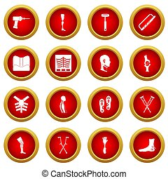 Orthopedics prosthetics icon red circle set isolated on...