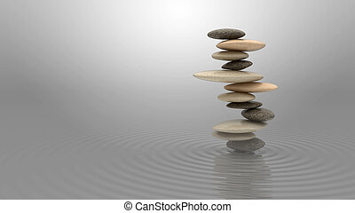 Harmony and balance concept Pebbles stack on the water over...