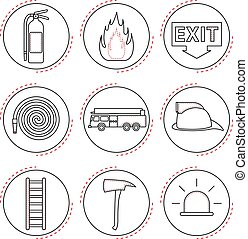 Fire Fighter Icons (Line) - 9 Easy-To-Use Fire Fighter Line...