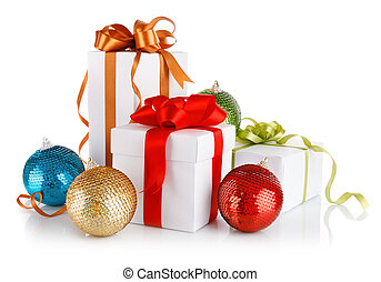 christmas gifts in with variegated bows and balls isolated...