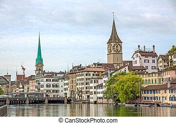 Zurich downtown, Fraumunster and St. Peter church - Zurich,...