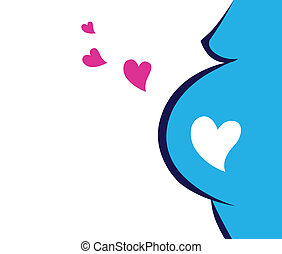Pregnant Woman Icon With Heart - Great expectation of baby...
