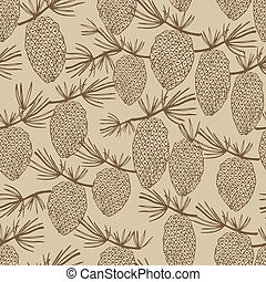 vintage seamless with pine cones - Vintage seamless with...