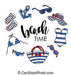 Beach time vector illustration. Swimsuit, eyeglasses,...