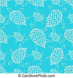 Vector seamless decorative pattern. Hand drawn turtle tribal background.