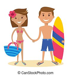 adult couple standing on the beach - Vector flat design...
