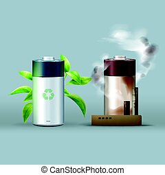 Ecological friendly battery - Vector ecological friendly...