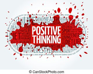 Positive thinking medical pill word cloud, health concept...