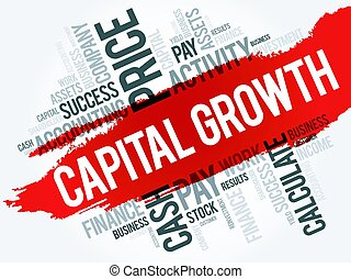 Capital growth word cloud collage, business concept...