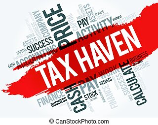 Tax Haven word cloud collage, business concept background