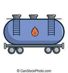 Gasoline railroad tanker icon, cartoon style