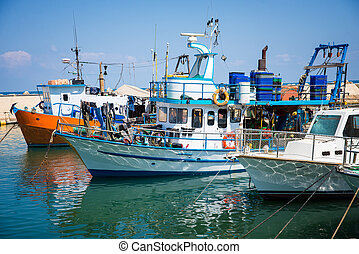 old port in Tel Aviv - ships in the old port of Jaffa in Tel...