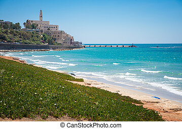 Jaffa old city - view from the shore of the old city of...