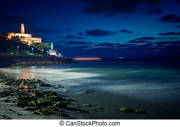 Tel Aviv at night - view of the old city of Jaffa from the...