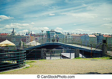 Prague old city - Bridge on the background of dancing house...
