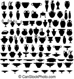 Ninety four ancient pottery silhouettes - Collection of...