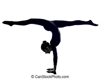 woman exercising Eka Pada Viparita Dandasana pose yoga...