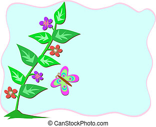 Frame with Stalk of Flowers and But