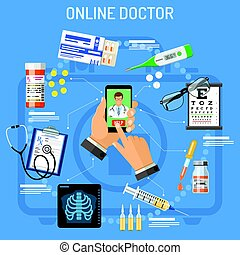 Online doctor concept. Man holding smart phone in hand and...
