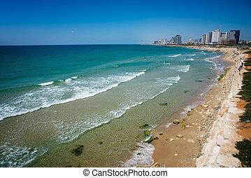 Tel Aviv - view from the shore to the modern district of Tel...