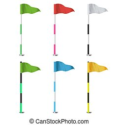 Golf Flags Vector. Realistic Flags Of The Golf Course. Isolated Illustration.