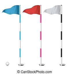 Golf Flags Set Vector. Illustration Isolated On White Background