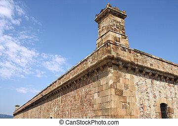 Montjuic - Barcelona, Spain. Famous Montjuic Fort, old...